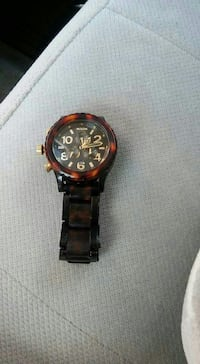 round black-faced chronograph watch with black lin Toledo, 43612