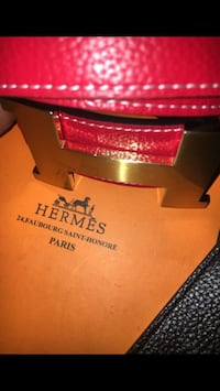 red Hermes leather belt with box