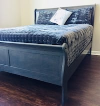New Gray Queen Sleigh Bed  Silver Spring