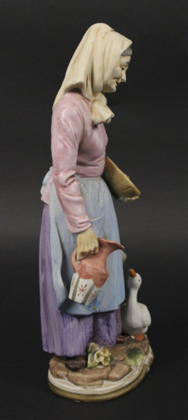 "Vintage Collectble 13"" Tall Homo Old Women With Goose Figurine 1cb01986-b95f-4813-963d-8ba74c4f2790"