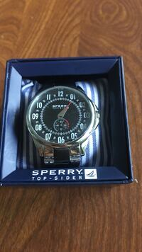Round black Sperry Top-Sider chronograph watch