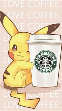 Pikachu holding starbucks tumbler illustration