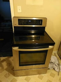 black and stainless steel induction range oven
