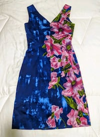 blue, pink, and green floral sleeveless dress