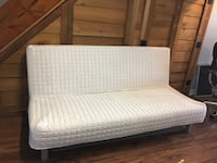 White fabric padded quilted futon Les Cèdres