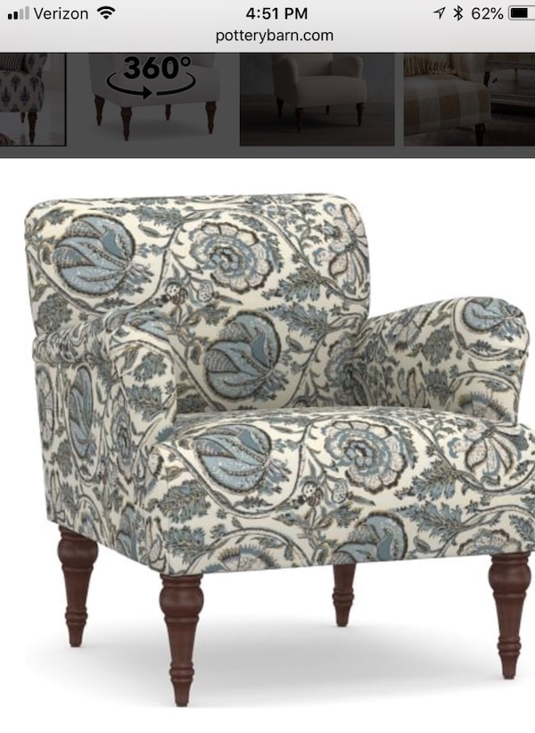 Used Pottery Barn 2 Hadley Upholstered Arm Chair For Sale In