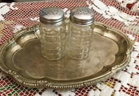 Small silver tray with vintage salt and pepper shakers Santa Clarita, 91390