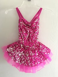 Girl's pink and silver sequin spaghetti strap dress dance costume