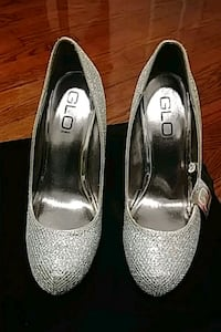 pair of gray leather peep toe pumps Red Bank, 07701