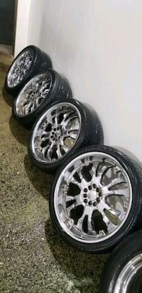 4  20in  chrome wheels rims  tires  245 35  20  5x Germantown