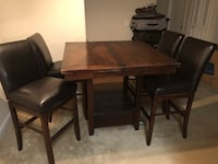 Rectangular brown wooden table with four chairs dining set Saint Petersburg, 33704