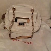 white Guess leather shoulder bag