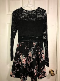 women's black floral long sleeve top and black-and-pink floral skirt