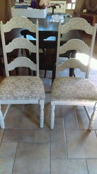 two brown wooden framed white padded chairs Henderson, 89074