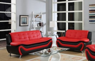Modern red and black sofa set