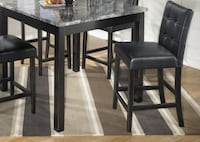 Gray Faux Marble Bar Height Table and Stools Vandalia