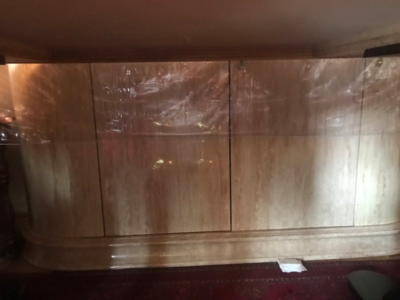 Wooden framed glass display cabinet 327a7199-bd10-4d20-8f97-1f9f17340e35