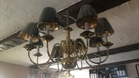 Solid Brass and black downlight chandelier Amityville, 11701