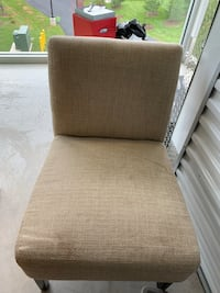 Tan linen fabric armless chair Laurel, 20707