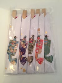 Set of 5 Colourful Silk Asian Motif Chopsticks from Japan Toronto, M5G