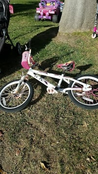 white and pink BMX bike