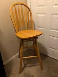 3 Wood Bar Stools 2 With  Back 1 WithOut Back. Virginia Beach, 23452