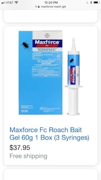 Maxforce Fc Roach Bait Gel 60g 1 Box (3Syringes) 2boxes for $14, $40/case of 8 boxes Reno, 89502