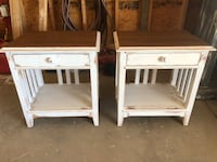 two white wooden side tables Park City, 67147