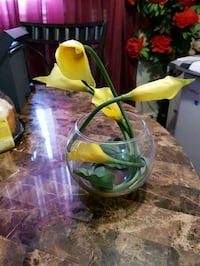 yellow petaled flower in the clear vase London, N6K