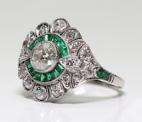 Stunning Retro Style Green and White Emerald Ring in 925 Sterling Silver sz7 New Coleman, 76834