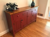 Red wooden hutch with shelving 22 mi