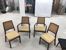 4 Teak and Wicker dining chairs