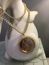 14k Gold Plated San Judas And Virgin Mary Medallion With Chain  Nashville