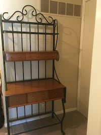 Wooden Bakers Rack with Dark Green Wrought  Iron Trim Toronto, M9W 4M1