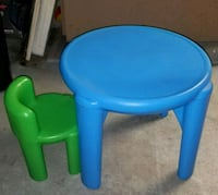 baby's blue plastic chair