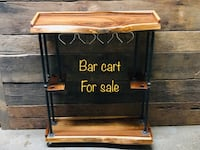brown wooden side table with text overlay Toronto, M6J 1J4