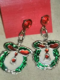 green and red drop stud earrings
