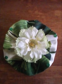 green and white floral ceramic plate Reading, 19601