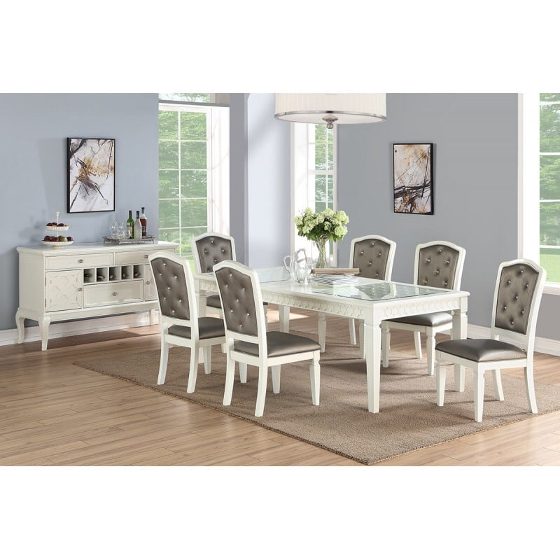 RECTANGULAR TABLE AND 6 CHAIRS WHITE
