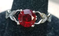 Beautiful sterling silver ruby and cz ring Baltimore, 21224