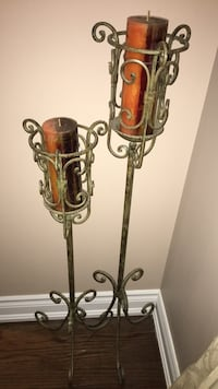 2 Floor Stand Candle Holders With Candles! Nice Pieces! Call now! Vaughan, L4H 3P6