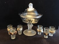 Antique French empire footed bowl with lid/6 glass shots  Toronto, M2R 3N1