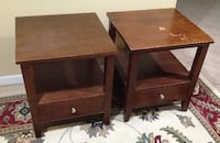 End tables / pair / wood. Size 19.75 x 19.75 x 22 tall Columbus
