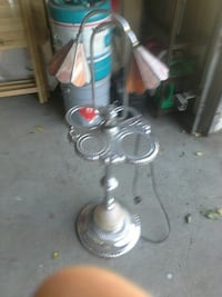 stainless steel floor lamp with two light lampshad 3113 km