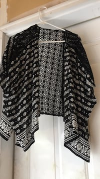 white and black floral cardigan