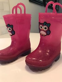 Capellini Pink Sparkle with owl rain boots Size 5 (toddler) Beaconsfield, H9W 4A9
