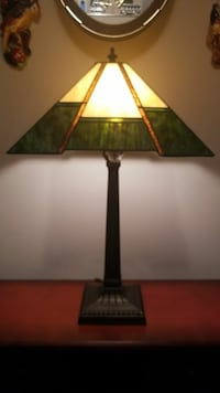 Green and gold table lamp