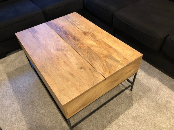 Used West Elm Industrial Storage Pop Up Coffee Table For Sale In