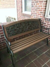 Wood and cast iron outdoor bench with ivy design Dundalk, 21222