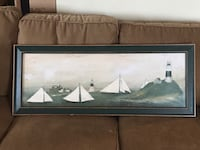 Framed Sailboat Lighthouse Picture Peabody, 01960